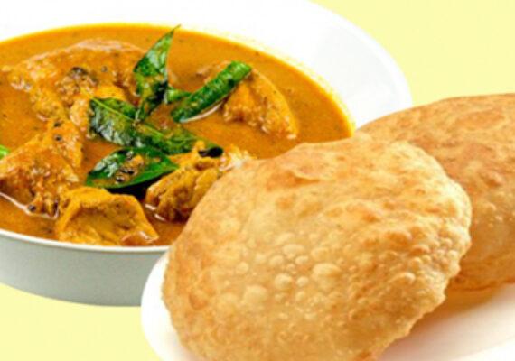2 Puri and Chicken with Raita